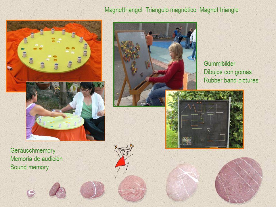 Magnettriangel Triangulo magnético Magnet triangle Geräuschmemory Memoria de audición Sound memory Gummibilder Dibujos con gomas Rubber band pictures