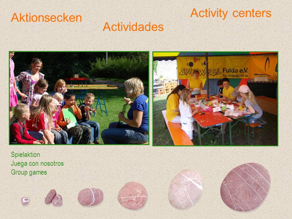 Aktionsecken Spielaktion Juega con nosotros Group games Actividades Activity centers