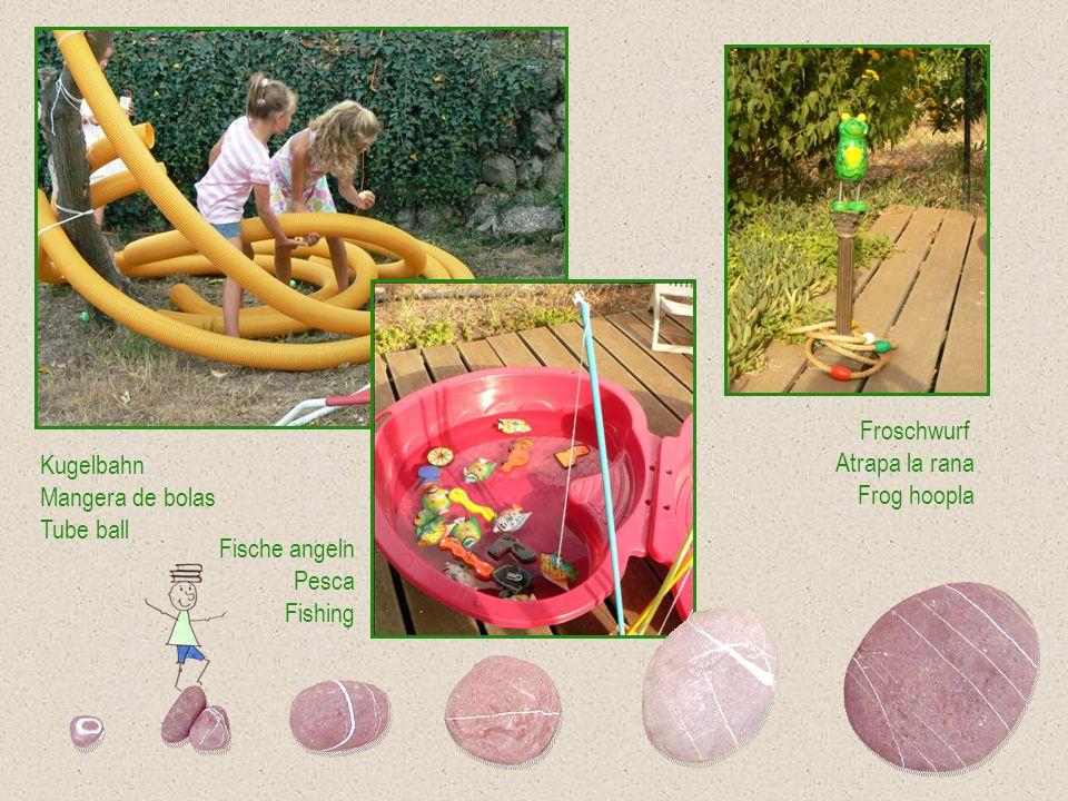 Froschwurf Atrapa la rana Frog hoopla Fische angeln Pesca Fishing Kugelbahn Mangera de bolas Tube ball