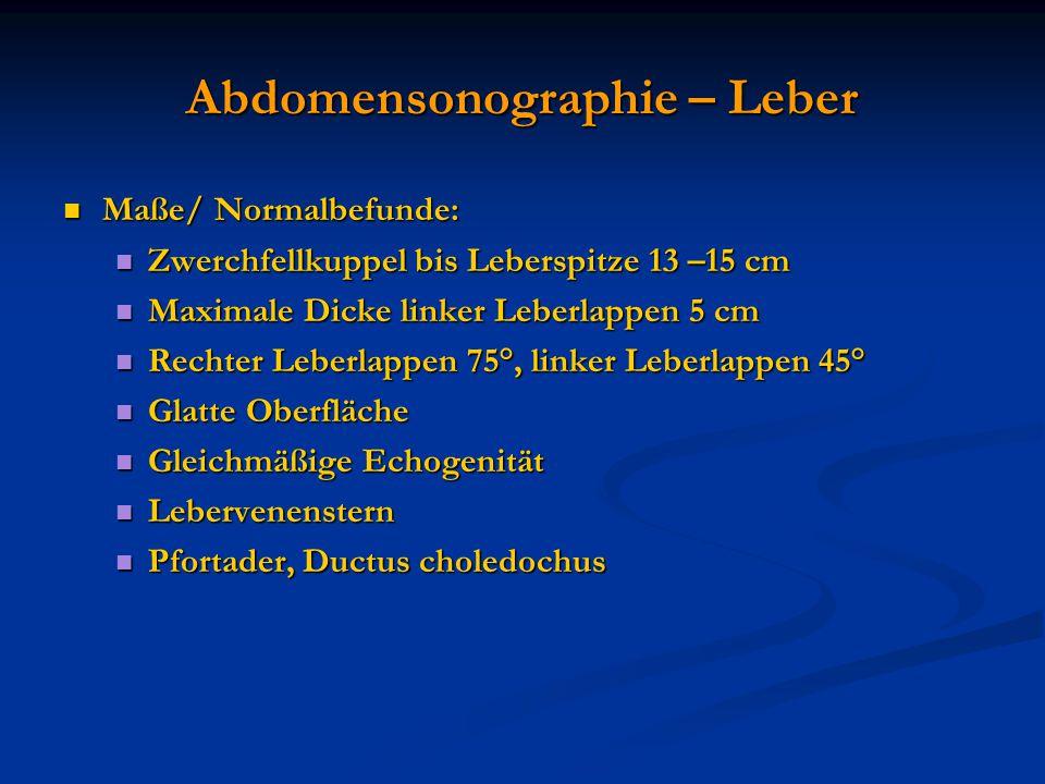 Abdomensonographie – Leber Maße/ Normalbefunde: Maße/ Normalbefunde: Zwerchfellkuppel bis Leberspitze 13 –15 cm Zwerchfellkuppel bis Leberspitze 13 –1