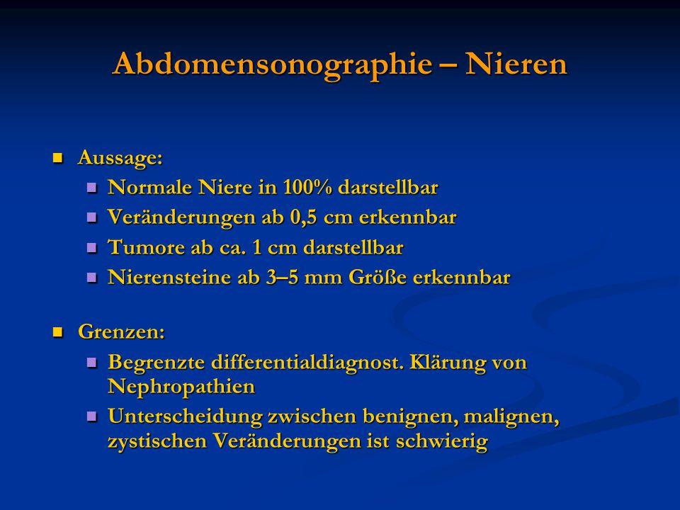 Abdomensonographie – Nieren Aussage: Aussage: Normale Niere in 100% darstellbar Normale Niere in 100% darstellbar Veränderungen ab 0,5 cm erkennbar Ve