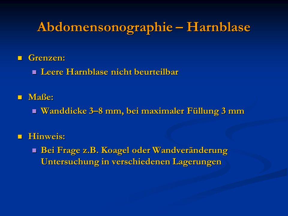 Abdomensonographie – Harnblase Grenzen: Grenzen: Leere Harnblase nicht beurteilbar Leere Harnblase nicht beurteilbar Maße: Maße: Wanddicke 3–8 mm, bei