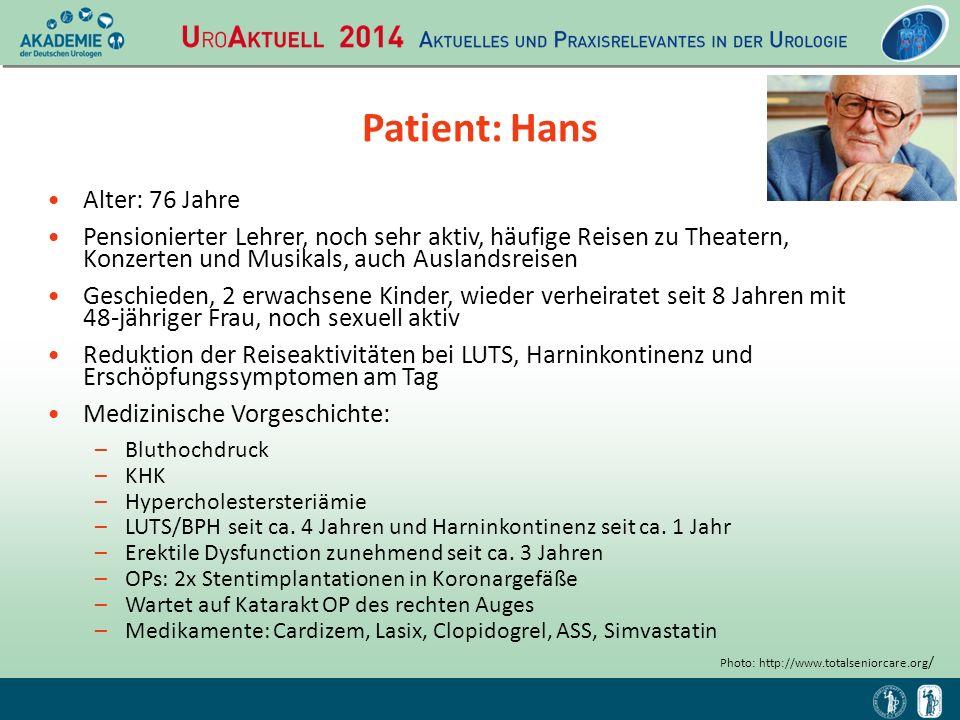 Patient: Hans Alter: 76 Jahre Pensionierter Lehrer, noch sehr aktiv, häufige Reisen zu Theatern, Konzerten und Musikals, auch Auslandsreisen Geschiede
