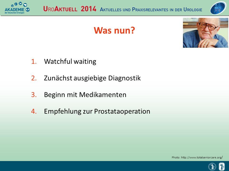 Diagnostik DRU: schmerzfreie, etwas vergrößerte Prostata ohne Resistenzen IPSS: 21/6 (Speichersymptome 12, Entleerungssymptome 9) Urinanalyse: unauffällige Befunde Blutuntersuchung: S-PSA: 2,1 ng/ml, S-Kreatinin: 0.9 mg/dl, Na + 140 mmol/l Prostatavolumen (TRUS): 34 ml Uroflowmetrie: Q max 11,4 ml/s, Miktionsvolumen 202 ml, glocken-förmige Kurve Restharn (Ultraschall): 55 ml (45 ml bei Wiederholung) Ultraschall von Blase und Nieren: unauffällige Befunde Photo: http://www.totalseniorcare.org /