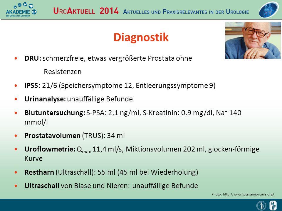 Diagnostik DRU: schmerzfreie, etwas vergrößerte Prostata ohne Resistenzen IPSS: 21/6 (Speichersymptome 12, Entleerungssymptome 9) Urinanalyse: unauffä