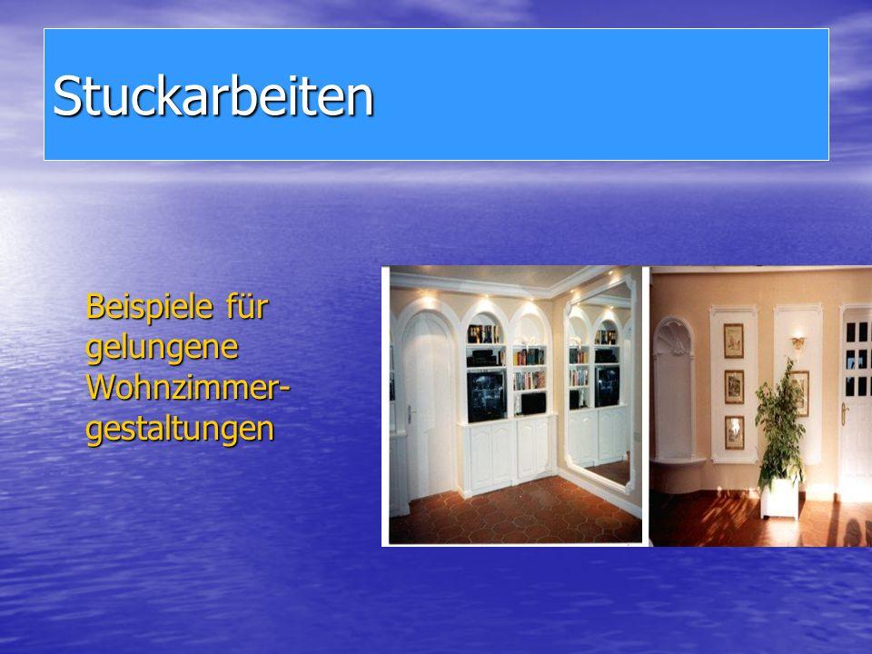 Stuckarbeiten Beispiele für gelungene Wohnzimmer- gestaltungen