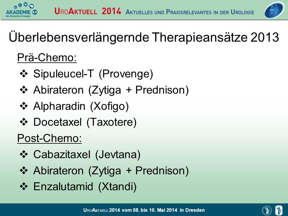 U RO A KTUELL 2014 vom 08. bis 10. Mai 2014 in Dresden Überlebensverlängernde Therapieansätze 2013 Prä-Chemo: Sipuleucel-T (Provenge) Abirateron (Zyti