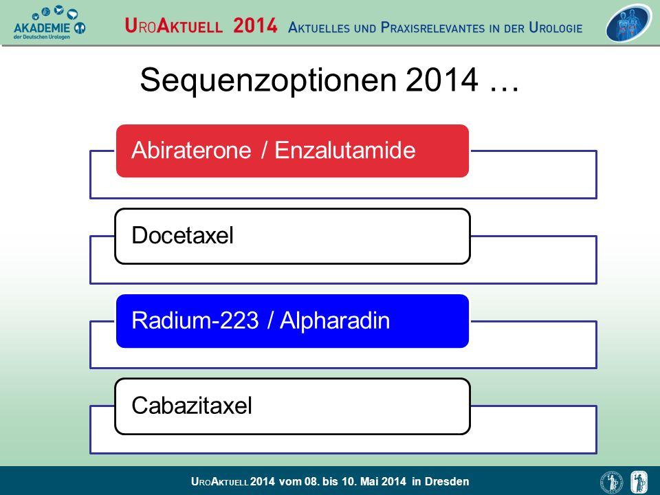 U RO A KTUELL 2014 vom 08. bis 10. Mai 2014 in Dresden Sequenzoptionen 2014 … Abiraterone / EnzalutamideDocetaxelRadium-223 / AlpharadinCabazitaxel