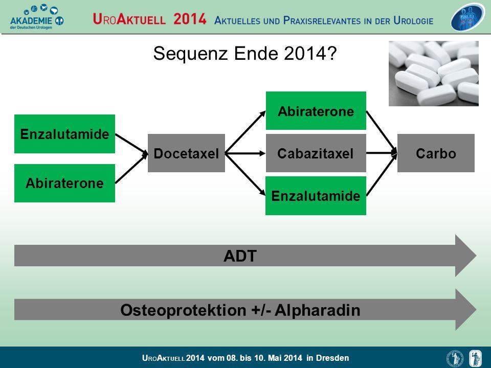 U RO A KTUELL 2014 vom 08. bis 10. Mai 2014 in Dresden Sequenz Ende 2014? Abiraterone CabazitaxelDocetaxel Enzalutamide ADT Osteoprotektion +/- Alphar