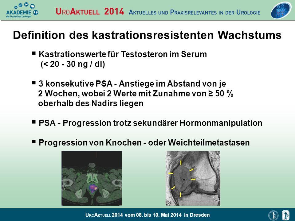 U RO A KTUELL 2014 vom 08. bis 10. Mai 2014 in Dresden Definition des kastrationsresistenten Wachstums Kastrationswerte für Testosteron im Serum (< 20