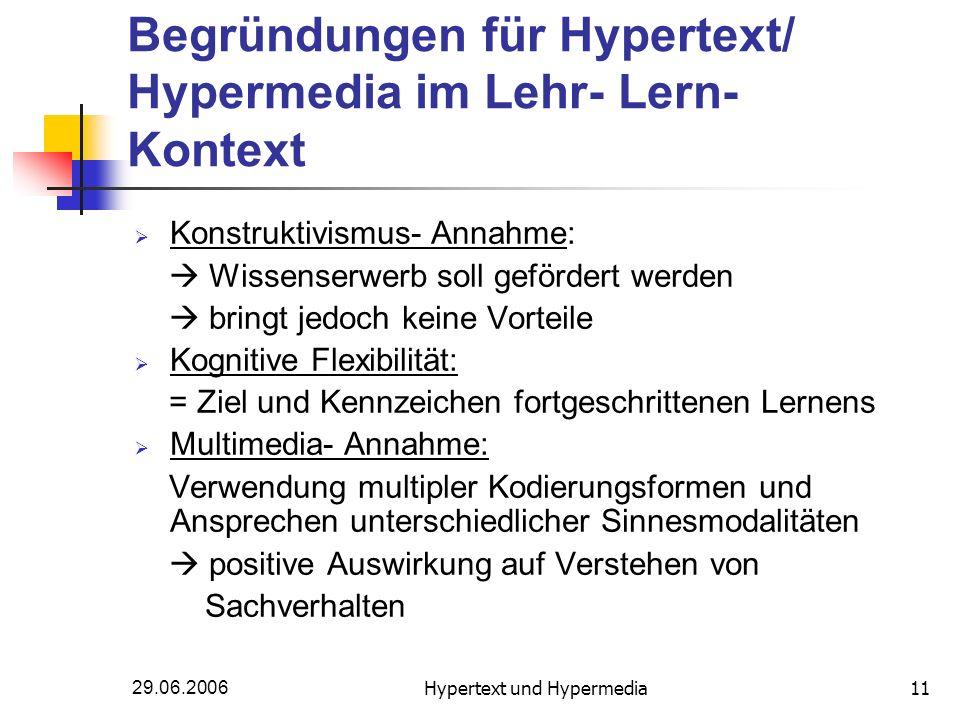 29.06.2006Hypertext und Hypermedia11 Begründungen für Hypertext/ Hypermedia im Lehr- Lern- Kontext Konstruktivismus- Annahme: Wissenserwerb soll geför