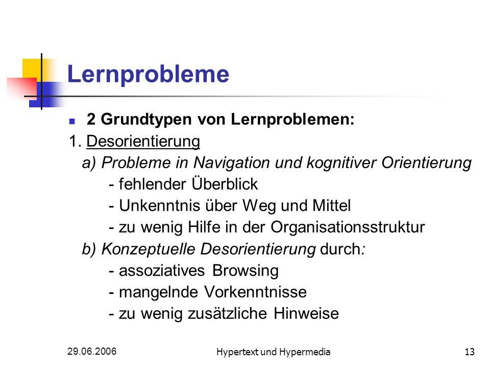 29.06.2006Hypertext und Hypermedia13 Lernprobleme 2 Grundtypen von Lernproblemen: 1. Desorientierung a) Probleme in Navigation und kognitiver Orientie