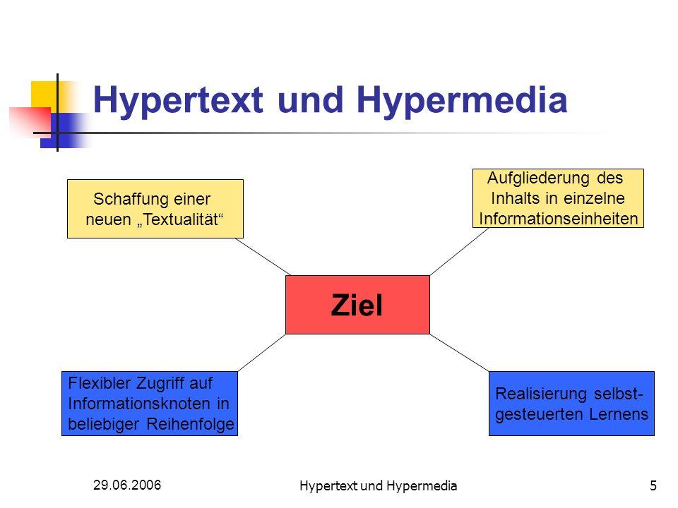 29.06.2006Hypertext und Hypermedia5 Ziel Aufgliederung des Inhalts in einzelne Informationseinheiten Schaffung einer neuen Textualität Flexibler Zugri