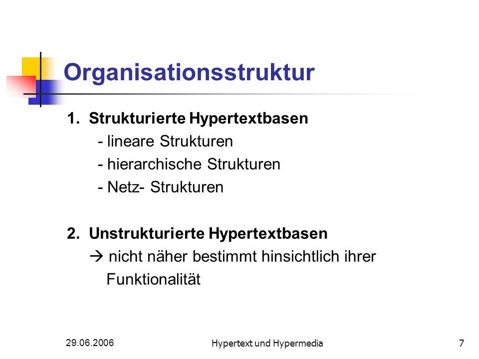 29.06.2006Hypertext und Hypermedia7 Organisationsstruktur 1. Strukturierte Hypertextbasen - lineare Strukturen - hierarchische Strukturen - Netz- Stru