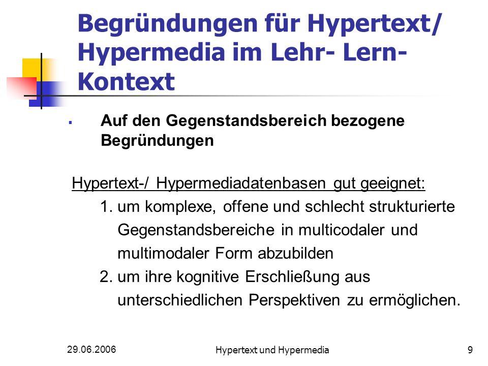 29.06.2006Hypertext und Hypermedia9 Begründungen für Hypertext/ Hypermedia im Lehr- Lern- Kontext Auf den Gegenstandsbereich bezogene Begründungen Hyp
