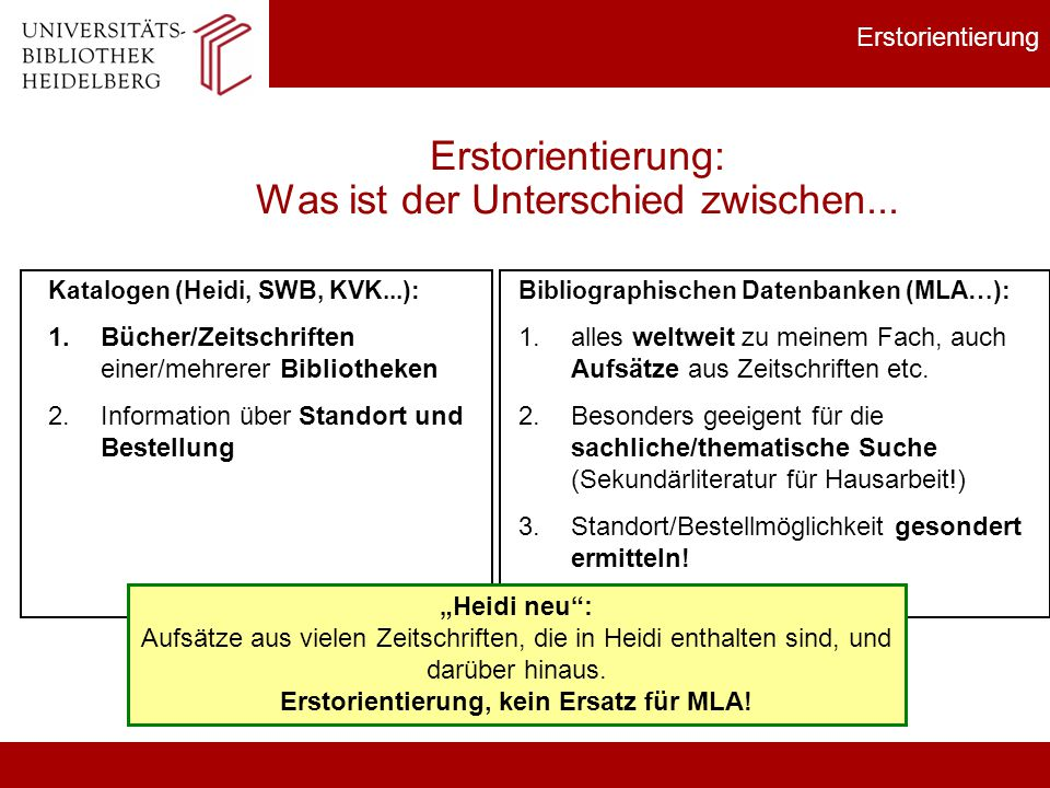 MLA Recherche in bibliographischenDatenbanken: MLA International Bibliography Fachgebiete: Sprach- und Literaturwissenschaften, Film, Theater.