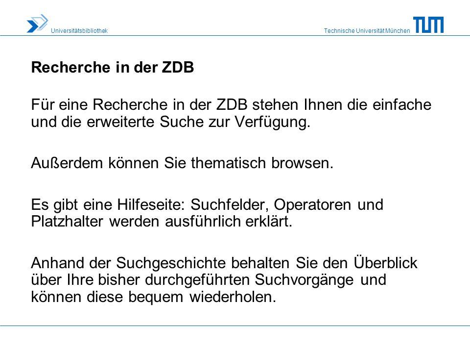 Technische Universität München Universitätsbibliothek Hinweis zu Fernleihe und Dokumentbestellung Vom Zeitschriftendatensatz aus ist eine direkte Weiterleitung zu verschiedenen Verbünden und Dokumentlieferdiensten möglich.