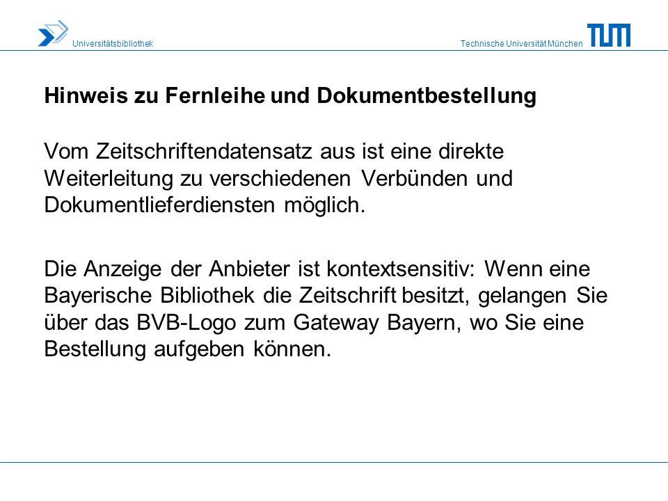 Technische Universität München Universitätsbibliothek Sie gelangen zur ZDB, indem Sie auf unserer Homepage www.ub.tum.de unter Unser Service dem Link Suchportale & Linklisten folgen.