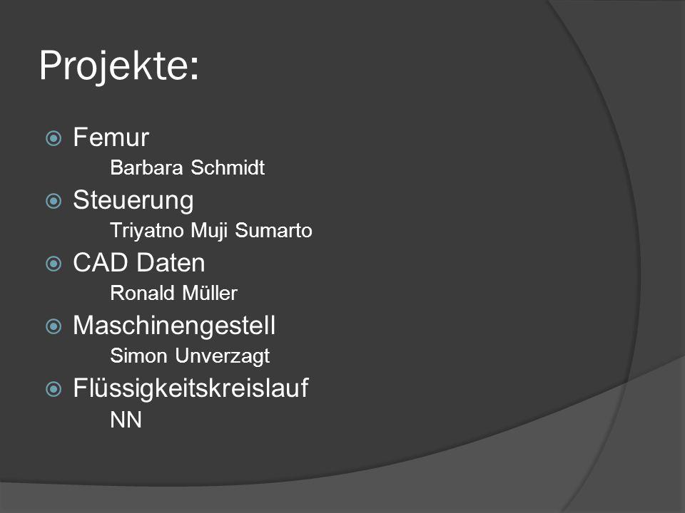 Projekte: Femur Barbara Schmidt Steuerung Triyatno Muji Sumarto CAD Daten Ronald Müller Maschinengestell Simon Unverzagt Flüssigkeitskreislauf NN