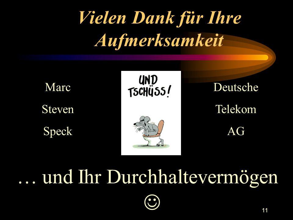 11 Vielen Dank für Ihre Aufmerksamkeit … und Ihr Durchhaltevermögen Marc Steven Speck Deutsche Telekom AG