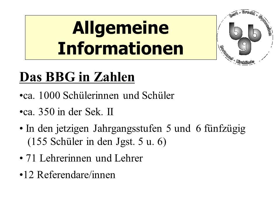 Allgemeine Informationen Das BBG in Zahlen ca. 1000 Schülerinnen und Schüler ca.