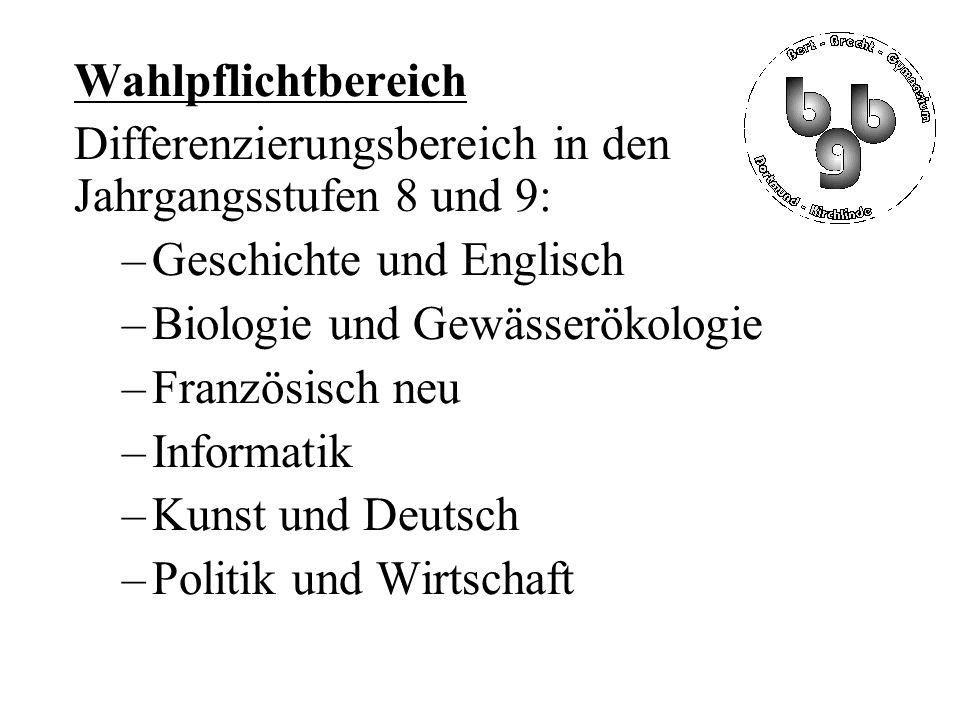 Wahlpflichtbereich Differenzierungsbereich in den Jahrgangsstufen 8 und 9: –Geschichte und Englisch –Biologie und Gewässerökologie –Französisch neu –Informatik –Kunst und Deutsch –Politik und Wirtschaft