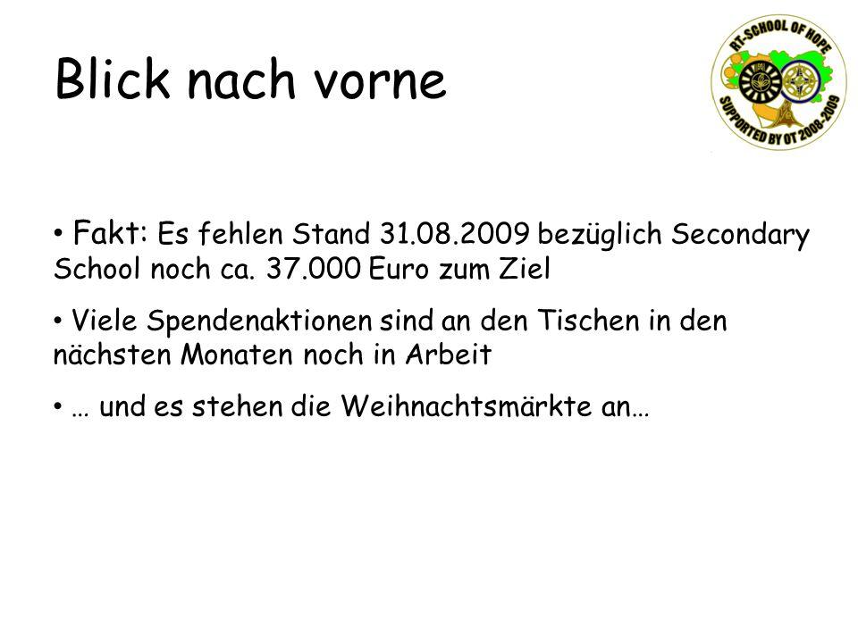 Blick nach vorne Fakt: Es fehlen Stand 31.08.2009 bezüglich Secondary School noch ca.