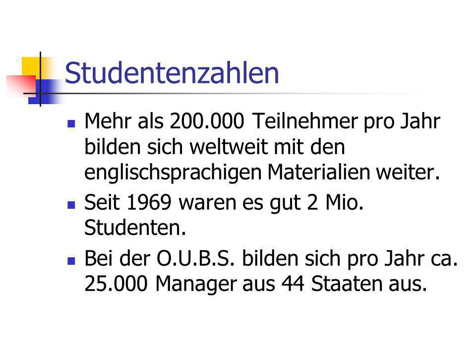 Studentenzahlen Mehr als 200.000 Teilnehmer pro Jahr bilden sich weltweit mit den englischsprachigen Materialien weiter.