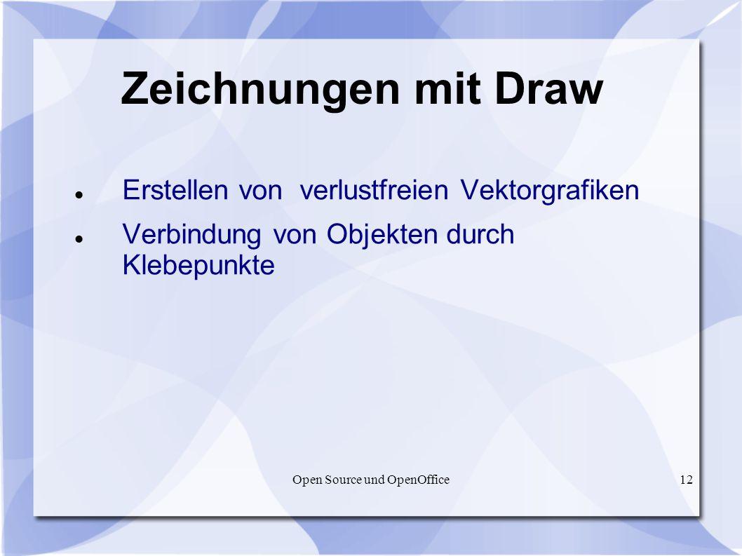 Open Source und OpenOffice12 Zeichnungen mit Draw Erstellen von verlustfreien Vektorgrafiken Verbindung von Objekten durch Klebepunkte