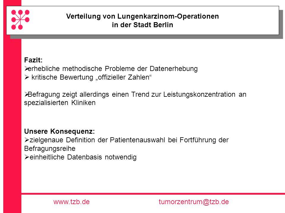 Tumorzentrum Berlin e.V. www.tzb.detumorzentrum@tzb.de Verteilung von Lungenkarzinom-Operationen in der Stadt Berlin Verteilung von Lungenkarzinom-Ope