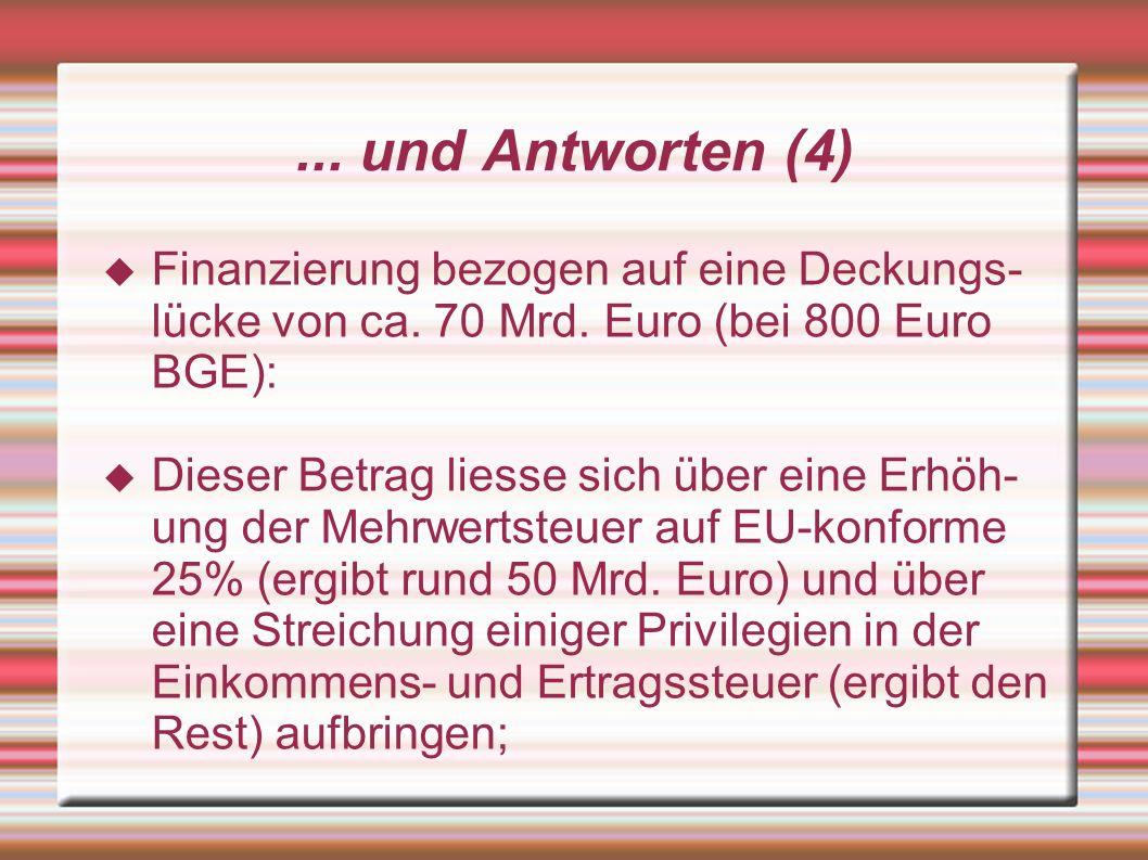 ... und Antworten (4) Finanzierung bezogen auf eine Deckungs- lücke von ca. 70 Mrd. Euro (bei 800 Euro BGE): Dieser Betrag liesse sich über eine Erhöh