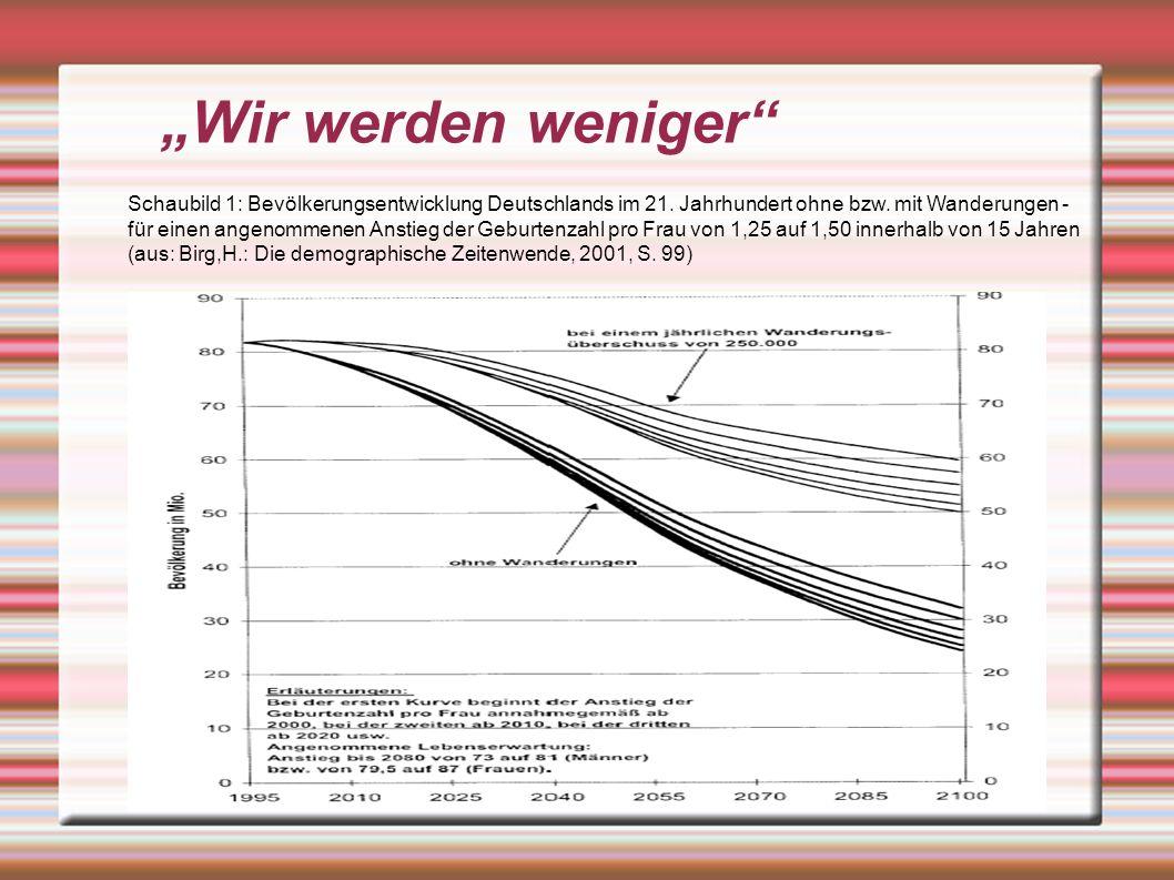 Wenn ein Hochlohnland wie Deutschland mit der Produktivitätssteigerung und der Innovativität seiner Produkte nicht mehr mithalten kann, wenn also sein Humanvermögen nicht mindestens ebenso rasch zunimmt wie in Ländern mit einer nachholenden Entwicklung, muß mit Beschäftigungs- und Wohlstandsverlusten und erbitterten Verteilungskämpfen gerechnet werden ( Kaufmann, F.X.: Schrumpfende Gesellschaft.