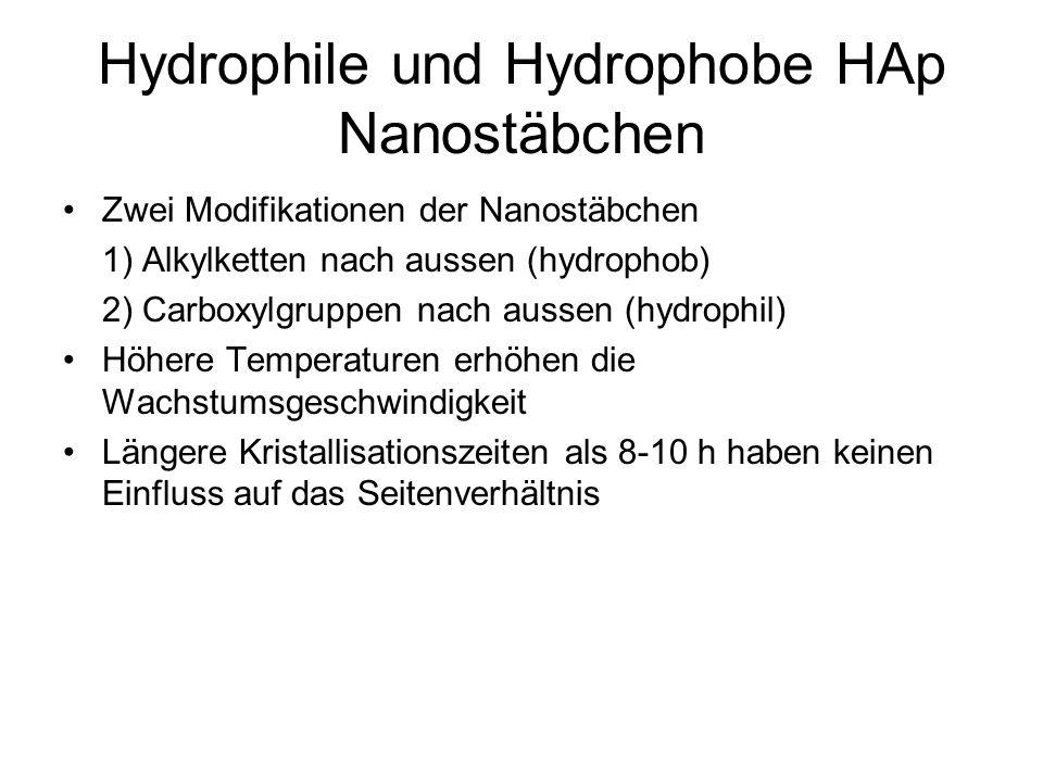 Hydrophile und Hydrophobe HAp Nanostäbchen Zwei Modifikationen der Nanostäbchen 1) Alkylketten nach aussen (hydrophob) 2) Carboxylgruppen nach aussen