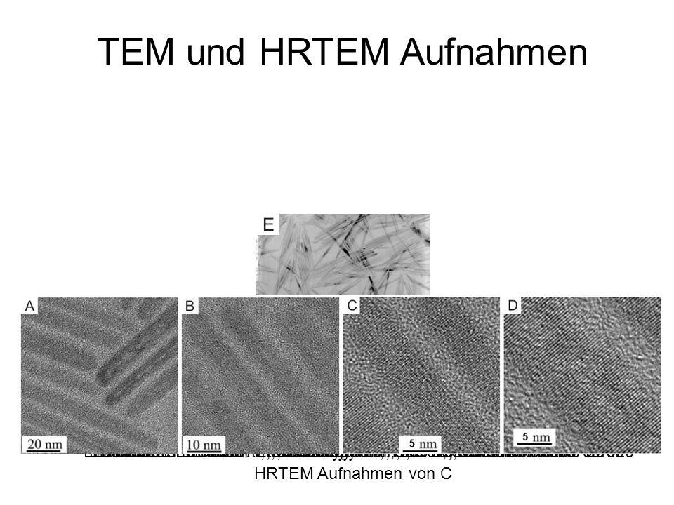 Linolsäure : Ethanol 1:4, 120° C, Seitenverhältnis ~5 TEM und HRTEM Aufnahmen Linolsäure : Ethanol 1:4, Octadecylamin, 90° C, Seitenverhältnis 8-10Lin