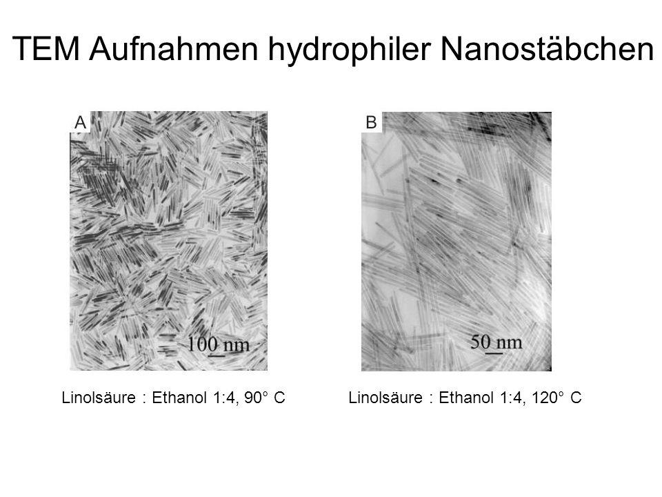 Linolsäure : Ethanol 1:4, 90° CLinolsäure : Ethanol 1:4, 120° C TEM Aufnahmen hydrophiler Nanostäbchen