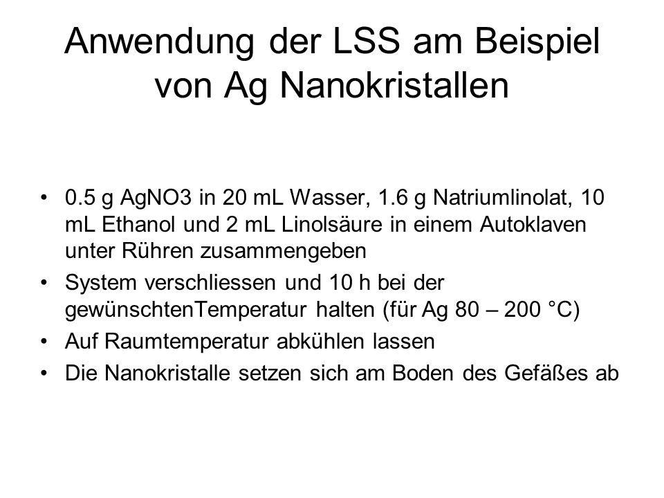 Anwendung der LSS am Beispiel von Ag Nanokristallen 0.5 g AgNO3 in 20 mL Wasser, 1.6 g Natriumlinolat, 10 mL Ethanol und 2 mL Linolsäure in einem Auto