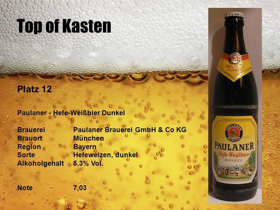 Top of Kasten Platz 12 Paulaner - Hefe-Weißbier Dunkel BrauereiPaulaner Brauerei GmbH & Co KG BrauortMünchen RegionBayern SorteHefeweizen, dunkel Alko