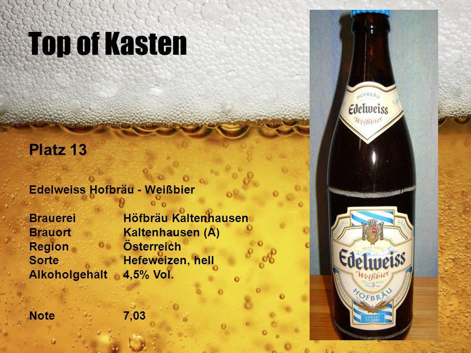 Top of Kasten Platz 13 Edelweiss Hofbräu - Weißbier BrauereiHöfbräu Kaltenhausen BrauortKaltenhausen (A) RegionÖsterreich SorteHefeweizen, hell Alkoho