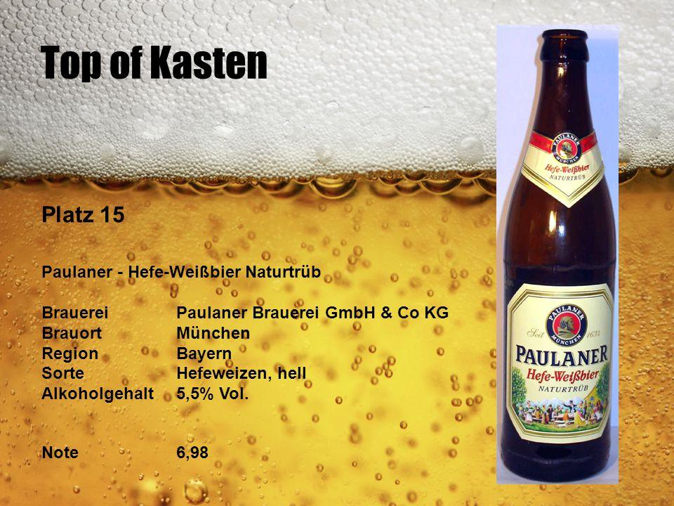 Top of Kasten Platz 15 Paulaner - Hefe-Weißbier Naturtrüb BrauereiPaulaner Brauerei GmbH & Co KG BrauortMünchen RegionBayern SorteHefeweizen, hell Alk