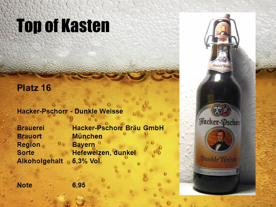 Top of Kasten Platz 16 Hacker-Pschorr - Dunkle Weisse BrauereiHacker-Pschorr Bräu GmbH BrauortMünchen RegionBayern SorteHefeweizen, dunkel Alkoholgeha