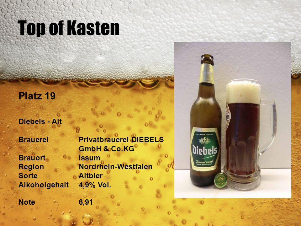 Top of Kasten Platz 19 Diebels - Alt BrauereiPrivatbrauerei DIEBELS GmbH & Co.KG BrauortIssum RegionNordrhein-Westfalen SorteAltbier Alkoholgehalt4,9%