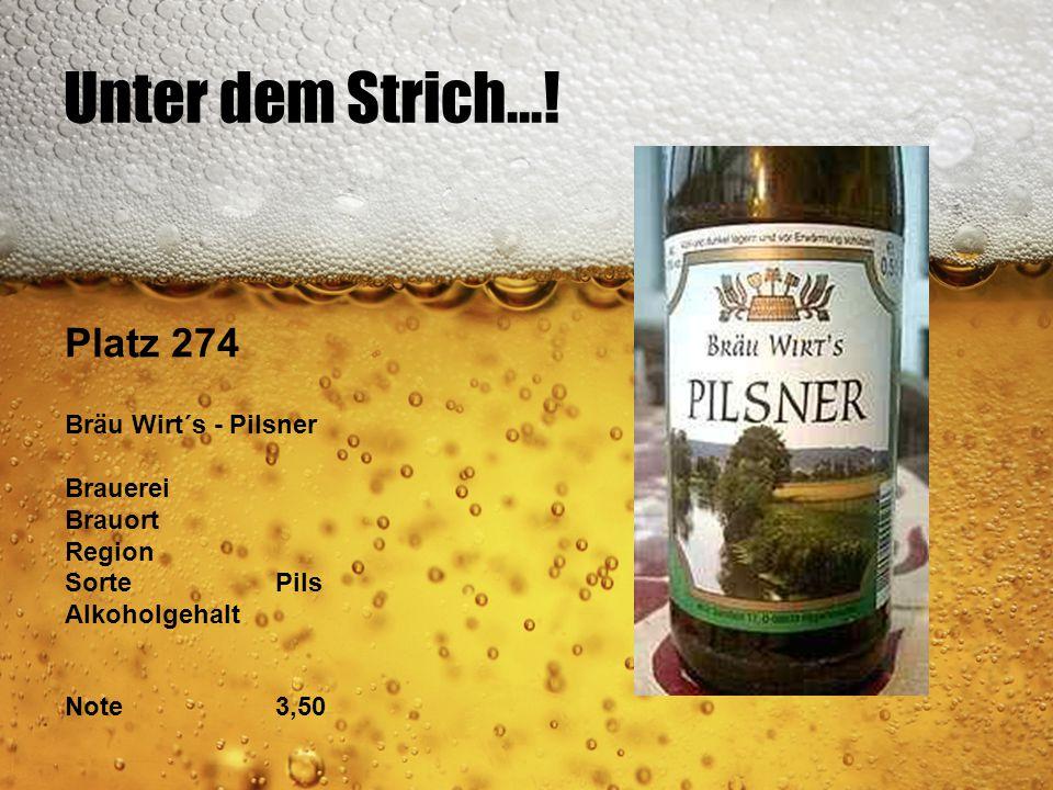 Unter dem Strich...! Platz 274 Bräu Wirt´s - Pilsner Brauerei Brauort Region SortePils Alkoholgehalt Note3,50