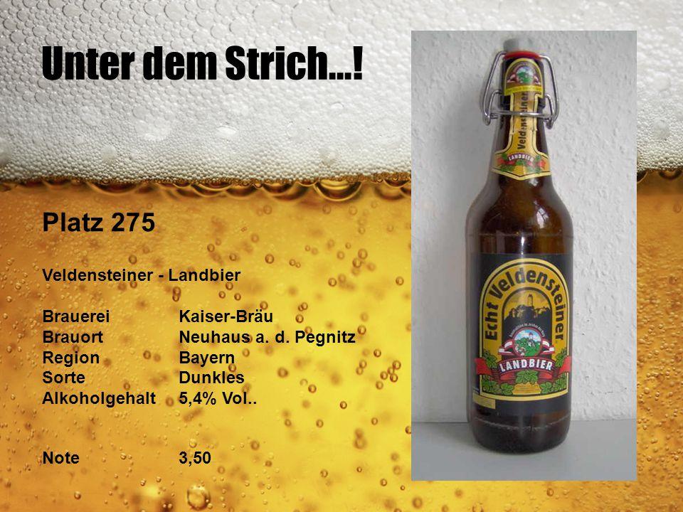 Unter dem Strich...! Platz 275 Veldensteiner - Landbier BrauereiKaiser-Bräu BrauortNeuhaus a. d. Pegnitz RegionBayern SorteDunkles Alkoholgehalt5,4% V