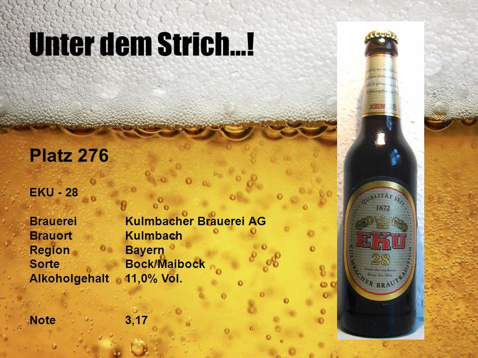 Unter dem Strich...! Platz 276 EKU - 28 BrauereiKulmbacher Brauerei AG BrauortKulmbach RegionBayern SorteBock/Maibock Alkoholgehalt11,0% Vol. Note3,17