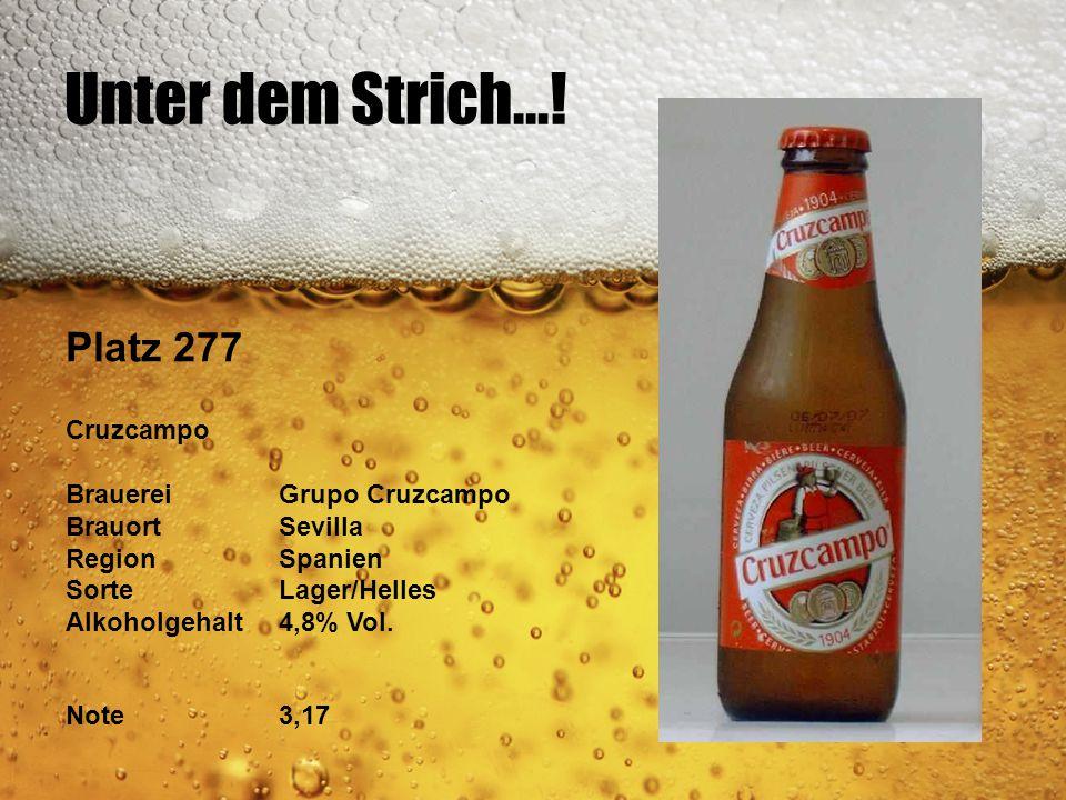 Unter dem Strich...! Platz 277 Cruzcampo BrauereiGrupo Cruzcampo BrauortSevilla RegionSpanien SorteLager/Helles Alkoholgehalt4,8% Vol. Note3,17