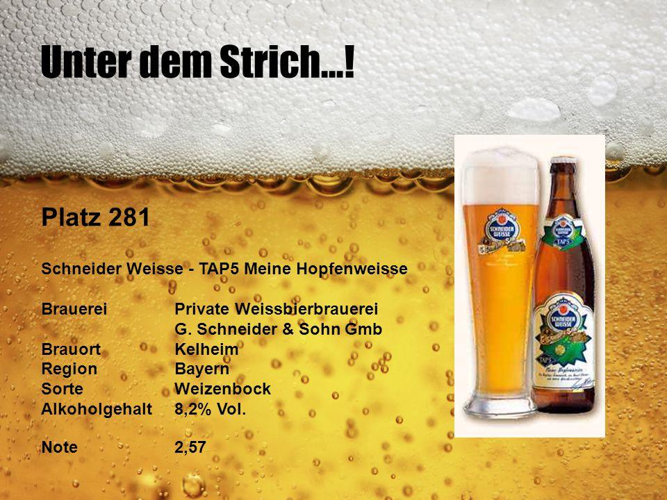Unter dem Strich...! Platz 281 Schneider Weisse - TAP5 Meine Hopfenweisse BrauereiPrivate Weissbierbrauerei G. Schneider & Sohn Gmb BrauortKelheim Reg