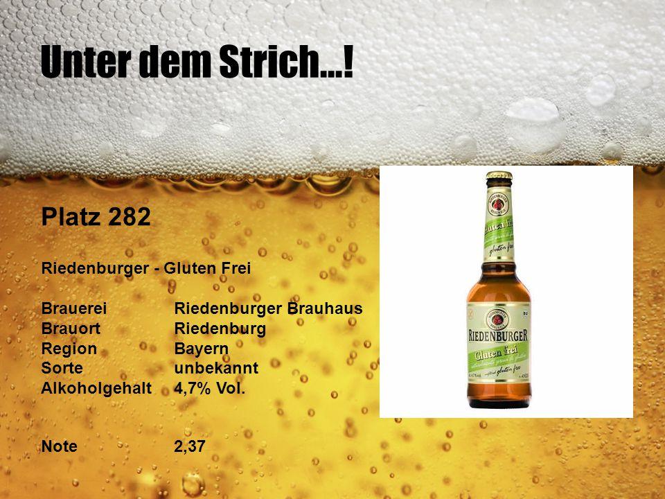 Unter dem Strich...! Platz 282 Riedenburger - Gluten Frei BrauereiRiedenburger Brauhaus BrauortRiedenburg RegionBayern Sorteunbekannt Alkoholgehalt4,7