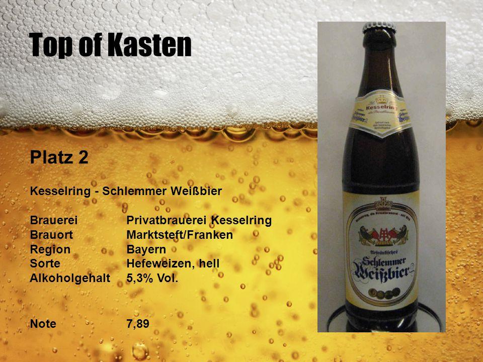 Top of Kasten Platz 2 Kesselring - Schlemmer Weißbier BrauereiPrivatbrauerei Kesselring BrauortMarktsteft/Franken RegionBayern SorteHefeweizen, hell A