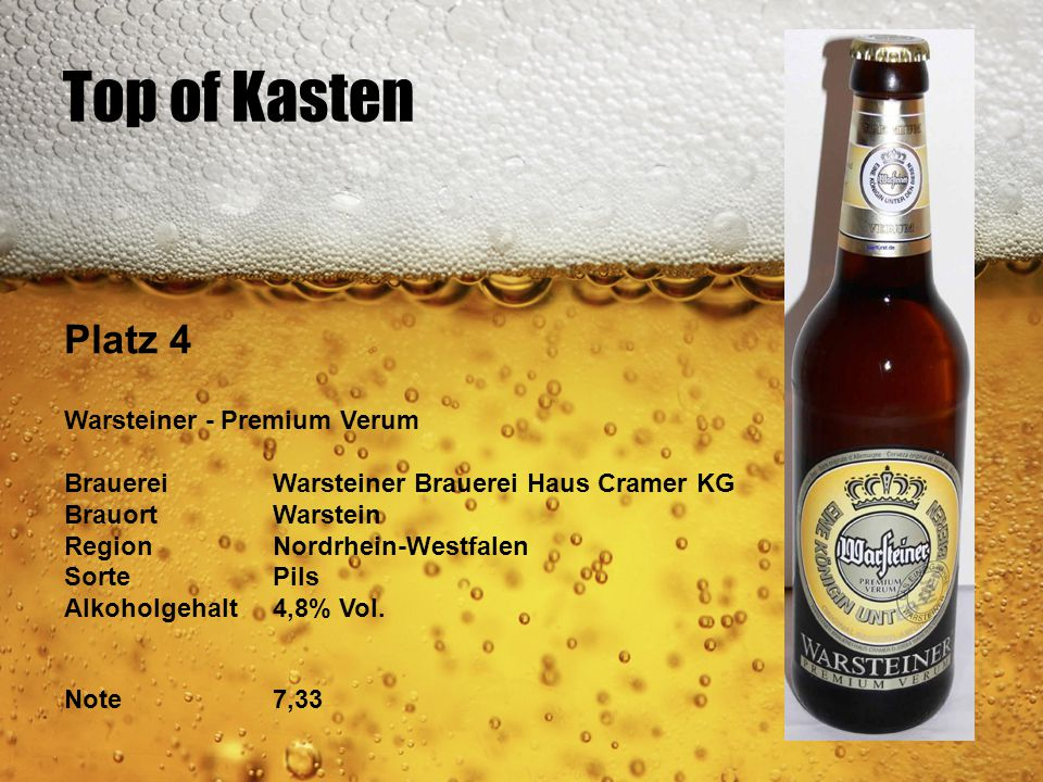 Top of Kasten Platz 4 Warsteiner - Premium Verum BrauereiWarsteiner Brauerei Haus Cramer KG BrauortWarstein RegionNordrhein-Westfalen SortePils Alkoho
