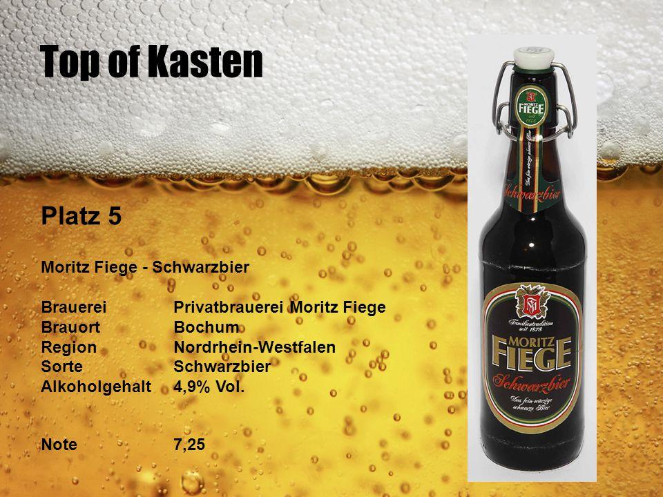 Top of Kasten Platz 5 Moritz Fiege - Schwarzbier BrauereiPrivatbrauerei Moritz Fiege BrauortBochum RegionNordrhein-Westfalen SorteSchwarzbier Alkoholg